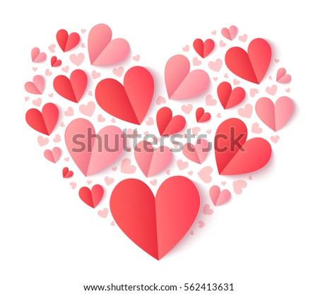 Vector heart shape filled with folded paper red and pink hearts with shadow