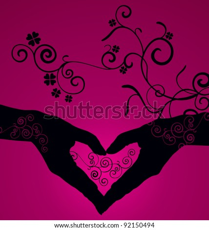 vector heart shaped hands