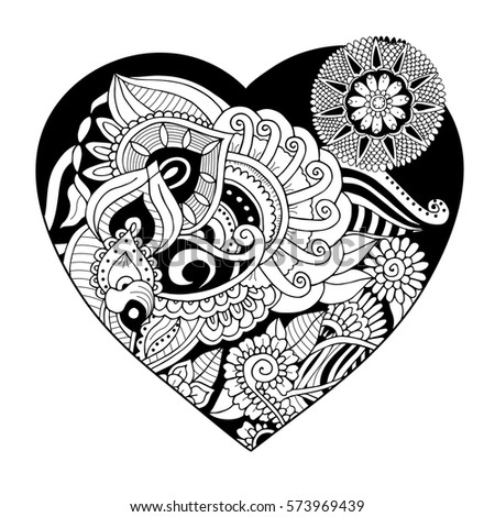 Vector Heart Shaped Pattern For Adult Coloring Ethnic Zentangle Style Symbol Of Love And