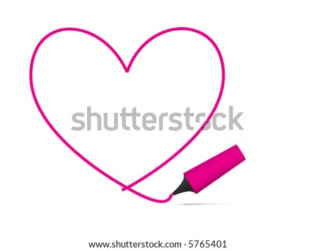 Vector - Heart shaped symbol formed by a highlighter pen in bright pink. Concept: Romance