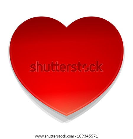 Vector Heart Symbol - Isolated illustration of red heart as a love symbol on white background