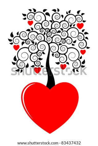 vector heart tree growing from heart on white background