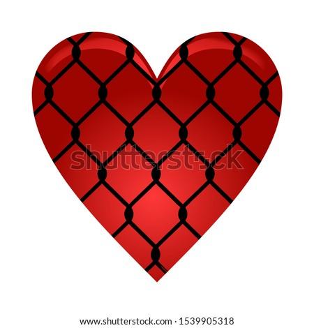 vector heart under wire netting
