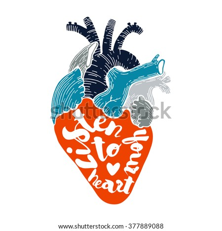 vector heart with quote. listen ...