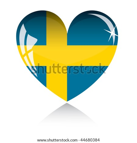Vector heart with Sweden flag texture isolated on a white background.