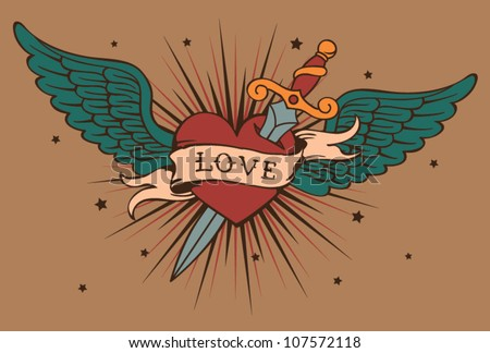 vector heart with wings and