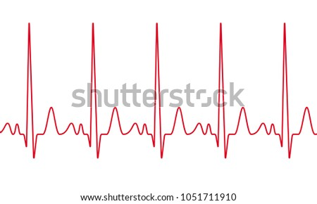 Vector heartbeat cardiogram. Red seamless line electrocardiogram pulse line. Cardiology medical wave chart background