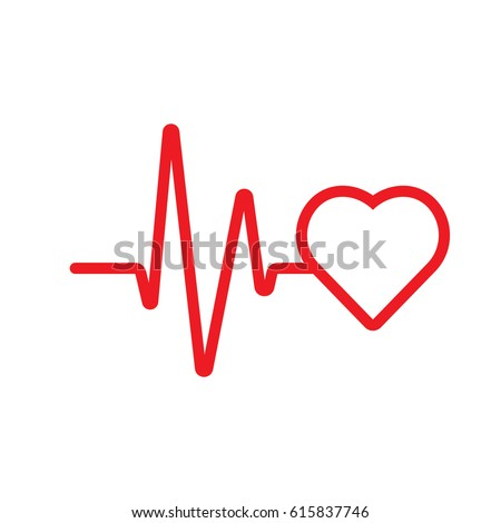 Vector heartbeat / heart beat icon with cardiogram line wave. Logo