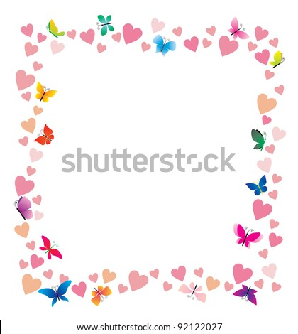 vector hearts and butterflies cartoon frame on white background