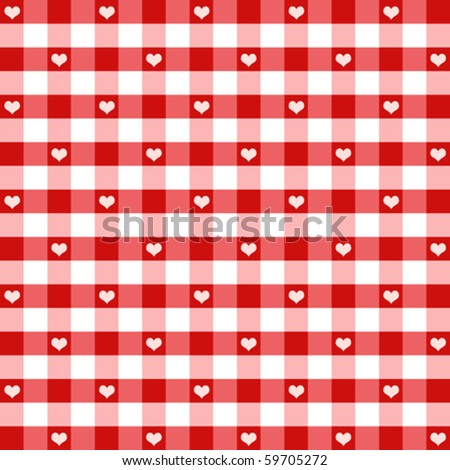 vector - Hearts & Gingham Seamless Pattern. Old fashioned design in Valentine's Day red for baby books, scrapbooks & albums. EPS8 file has pattern swatch that will seamlessly fill any shape.
