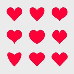 Vector hearts icons set.