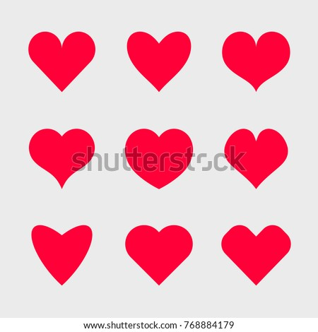 Vector hearts icons set.