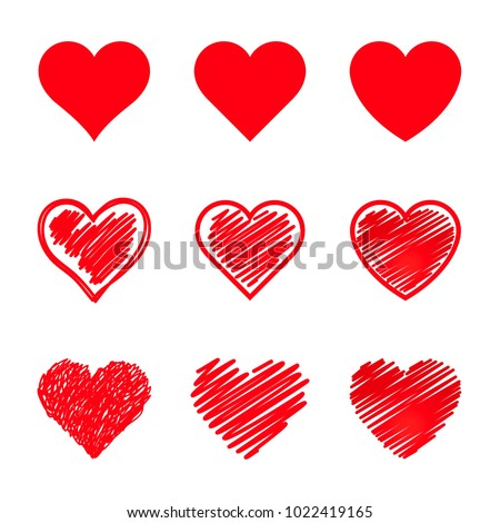 vector hearts set different