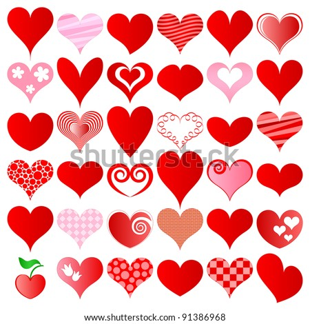 vector hearts set for wedding and valentine design