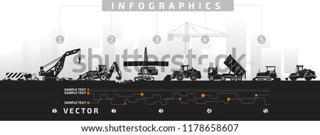 Vector heavy construction machinery in the city, repair of roads, asphalt paving.