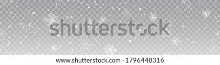 Vector heavy snowfall, snowflakes in different shapes and forms. Snow flakes, snow background. Falling Christmas.