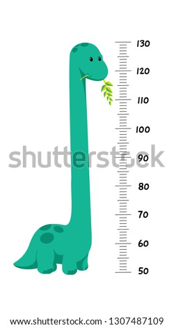 Vector height wall chart decorated with cartoon dinosaur - brontosaurus, or diplodocus with tall neck - and numbers. Illustration in flat style for children growth measure, gift for baby birth, shower