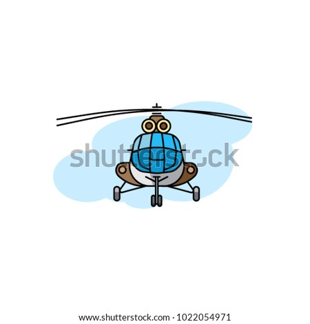 Vector helicopter. Helicopter color illustration