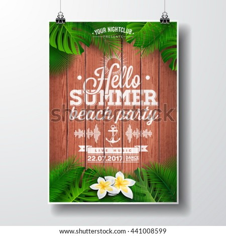vector hello summer beach party