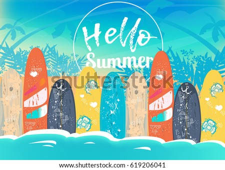 Vector Hello Summer poster background.  Flat horizontal banner. Wind surfing boards. Vector illustration