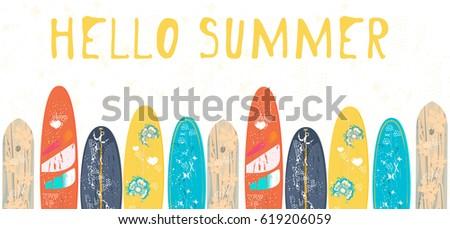 vector hello summer poster