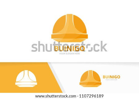Vector helmet logo combination. Hat symbol or icon. Unique safety logotype design template.