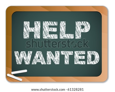 Vector - Help Wanted written on Chalk Blackboard - stock vector