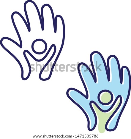 Vector helping hand icon symbol with abstract hand and people in flat style. People in abstract and flat style for element design. Vector illustration EPS.8 EPS.10