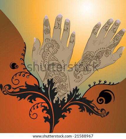 stock vector VECTOR Henna hands with floral arabesque designs