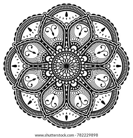 Vector Henna Mandalas Style Decoration Hand Drawn Round Decorative