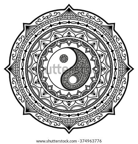vector henna tatoo mandala yin