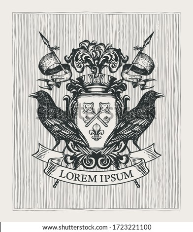 Vector heraldic Coat of arms with ravens, crown, spears, ribbon, knightly shield with old keys and fleur de lis. Medieval heraldry, emblem, symbol. Hand-drawn illustration in vintage style ストックフォト ©
