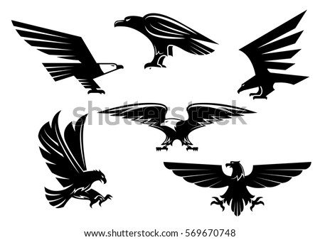 Vector heraldic eagle or hawk isolated icons. Imperial predatory falcon symbol with open spread wings and sharp clutches. Eagle or griffin heraldry sign for team mascot, military,  security badge
