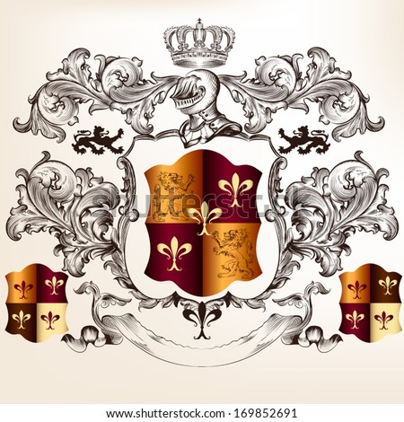 Vector heraldic illustration in vintage style with shield, armor, crown and swirl ornament for design