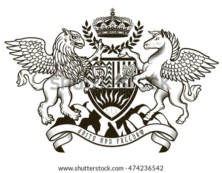 Vector heraldic illustration in vintage style with shield, crown, Griffin and Pegasus for design