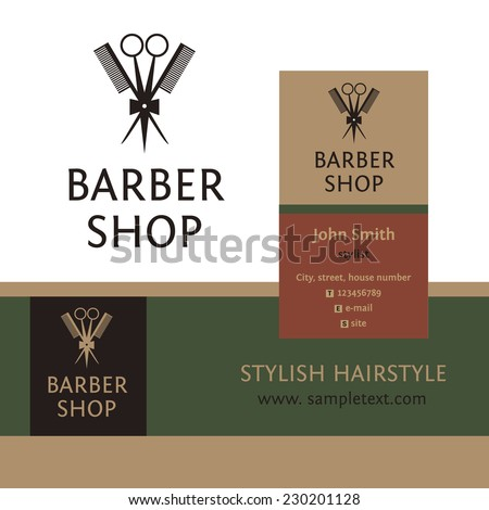 Vector heraldic logo for a hairdressing salon. Business card and banner. Template for corporate style barbershop. Status and elegance.