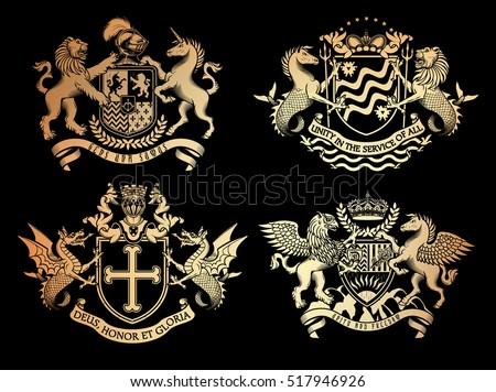 vector heraldic set of