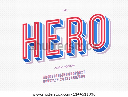 Vector hero typeface trendy typography colorful style for decoration, logo, party poster, t shirt, book, greeting card, sale banner, printing on fabric, stamp. Cool 3d font. Modern alphabet. 10 eps