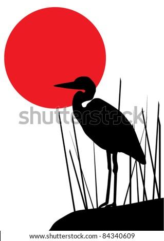 vector heron silhouette