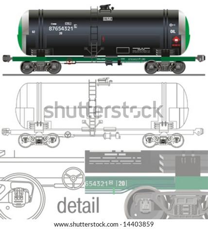 Vector hi-detail rail oil/gasoline tanker car [for branding]. More transportation illustrations see in my portfolio. - stock vector