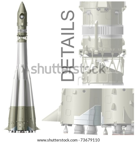 vector hi detailed space rocket
