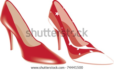 vector high heel shoes of different colors