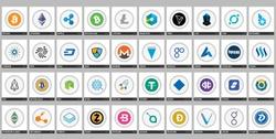 Vector high market cap digital currency logos and symbols