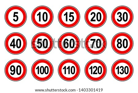 Vector high quality flat style collection set of generic speed limit signs with black number and red circle - usable for metaphor communication in business field Foto stock ©