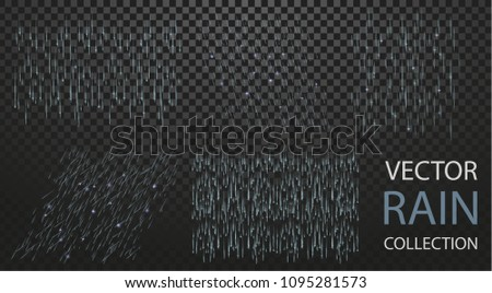 Vector High quality Rain Collection Set Isolaed on Transparent Background. Can be used on flyers, banners, web or any project. Falling water drops. Nature texture rainfall on black background. EPS 10.