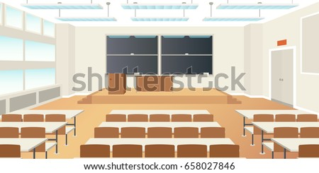 Vector high school classroom interior empty scene in flat style