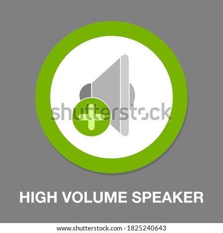 vector high volume speaker icon. Flat illustration of high volume speaker. music button isolated on white background. sound music sign symbol