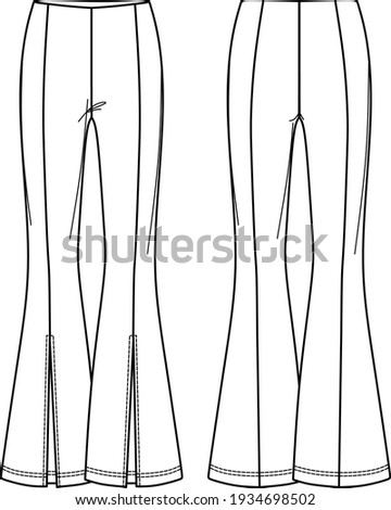 Vector high waist flared leggings fashion CAD, woman ribbed pants technical drawing, template, sketch, flat. Jersey or woven fabric trousers with front, back view, white color Foto stock ©
