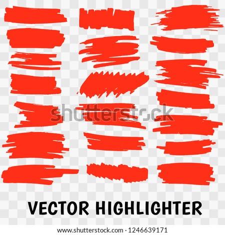 Vector highlighter brush set. Hand drawn red highlight marker stripes.