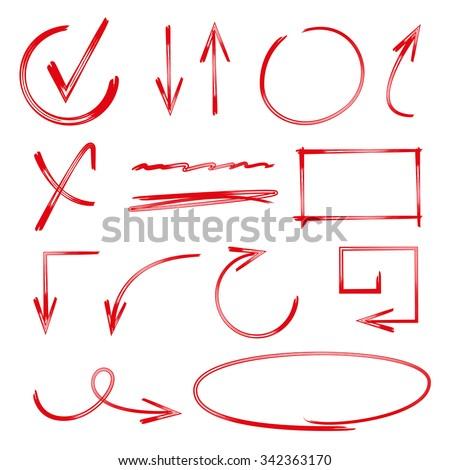 vector highlighter elements, arrows, circles, check marks